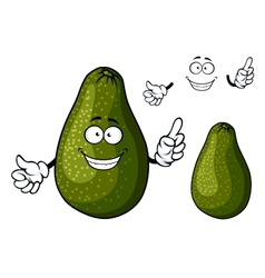 Smiling ripe green avocado fruit character vector