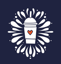 Smoothie shake cup with heart hand drawn doodle vector
