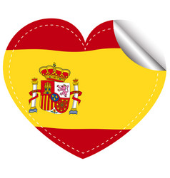 Sticker design for spain in heart shape vector