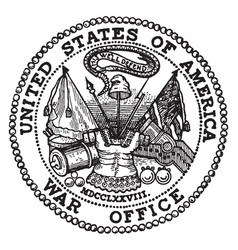 The seal of the war department of the united vector