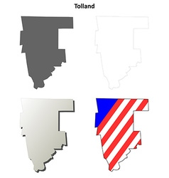 Tolland map icon set vector