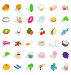 Vegan food icons set isometric style vector