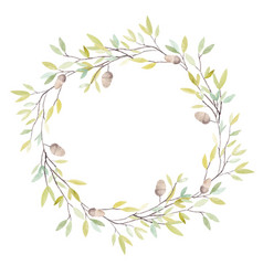 Watercolor wreath with oak acorn and leaves vector