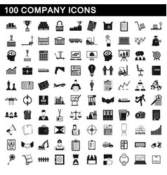 100 company icons set simple style vector