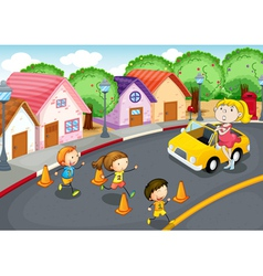 kids on road vector image