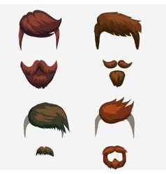 Hairstyle mustache and beard hipster vector