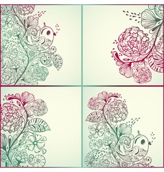Spring cards with floral pattern vector