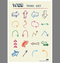 Arrows web icons set drawn by color pencils vector image