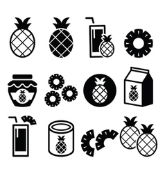 Pineapple fruit pineapple slices juice icons vector