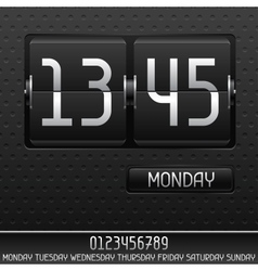 Mechanical flip clock with date vector