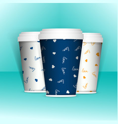 3d realistic set of paper coffee or tea cups mock vector image