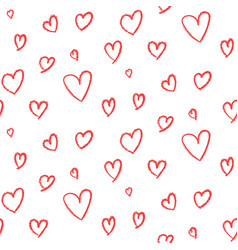 Cute hand drawn hearts pattern vector