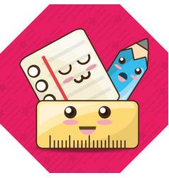 Kawaii icons school tools to study education vector