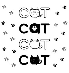 Round shape black cat text icon lettering paw vector
