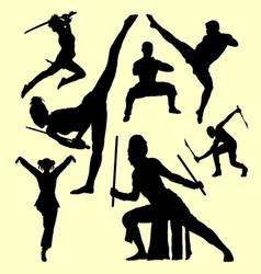Martial art and self defense silhouette vector