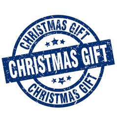 Christmas gift blue round grunge stamp vector