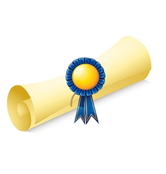 A paper scroll with a ribbon vector