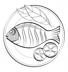 Fish on a plate vector
