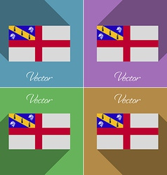 Flags herm set of colors flat design and long vector