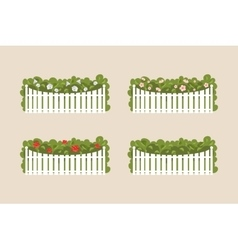 Bushes of white fence vector