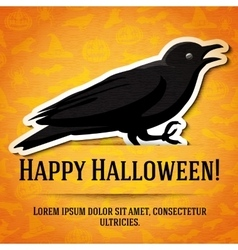 Happy halloween greeting card with black raven vector