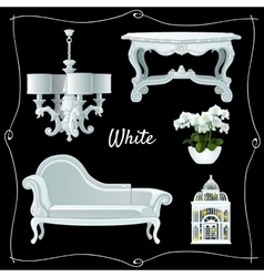 Set of luxury white classic furniture vector