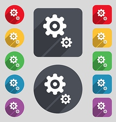 Gears icon sign a set of 12 colored buttons and a vector