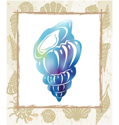 Color seashell in a frame vector