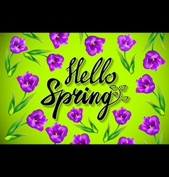 Hello spring design with 3d realistic fresh plants vector