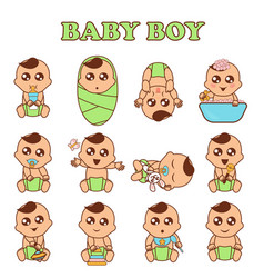 baby boy set cute boys in vector image vector image
