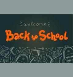 back to school doodles in chalkboard background vector image vector image