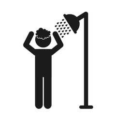 bathroom shower silhouette icon vector image