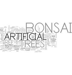 Beautiful artificial bonsai tree text word cloud vector
