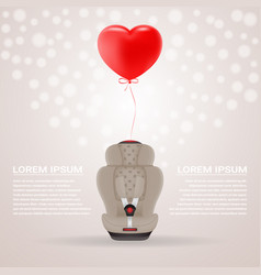 Beige child car seat with red baloon in shape of vector
