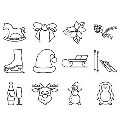 Black and white winter icons vector image