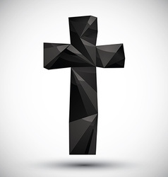 Black cross geometric icon made in 3d modern style vector image
