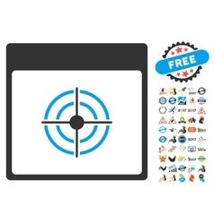 Bullseye calendar page flat icon with bonus vector