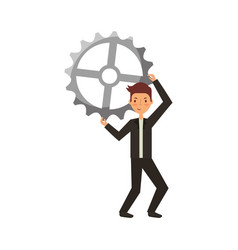 businessman with gear avatar character icon vector image