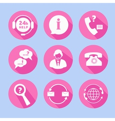 Call center support icons set vector