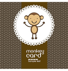 Card with cute monkey vector