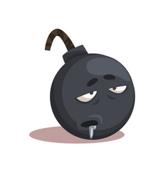 Cartoon character of gray bomb with sick face vector
