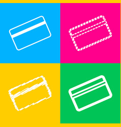 Credit card symbol for download four styles of vector