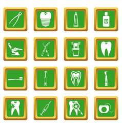Dental care icons set green vector