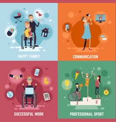 disabled people concept icons set vector image