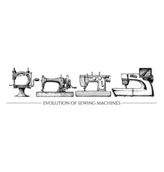 Evolution of sewing machines vector