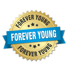 forever young 3d gold badge with blue ribbon vector image vector image