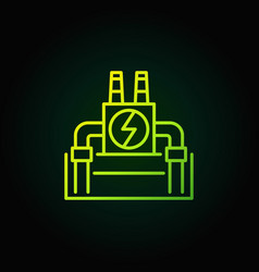 Geothermal power plant green icon vector