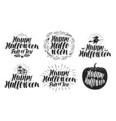 happy halloween label set holiday symbol or logo vector image