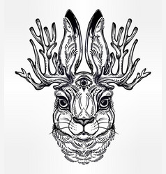 Jacalope three eyed magical creature portrait vector