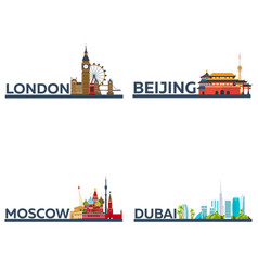 london beijing moscow dubai set tourism vector image